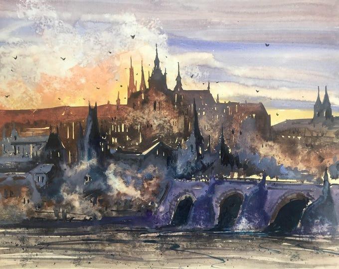 Misty Prague II in watercolor