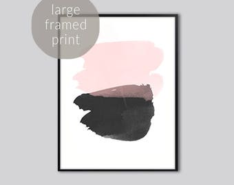 "Large abstract wall art print, abstract wall art, pink black abstract art, modern pink abstract art, large abstract prints, Framed 24"" x 36"""