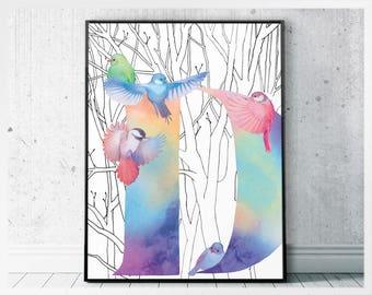 Letter print D wall decor - letter D nursery - initial D birds printable letters wall art - nursery letters art print - initial monogram D