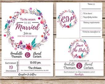 Hochzeit Einladung Vorlage Hochzeitseinladung, Winter Hochzeit Set  Hochzeitseinladungen Lädt Set Druckbare Druckbare Einladungen