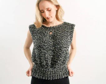 Black and White Wool Knit Top