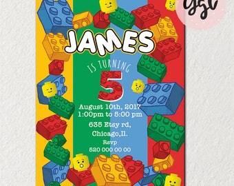LEGO INVITATION, LEGO party, lego birthday invitation, lego movie party, lego blocks birthday invitation, boy invitation, colorful blocks