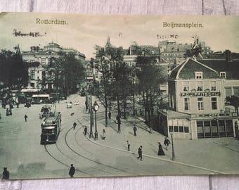 vintage postcard, vintage cards, vintage Rotterdam postcard, boijmasplein postcard, rotterdam postcard,