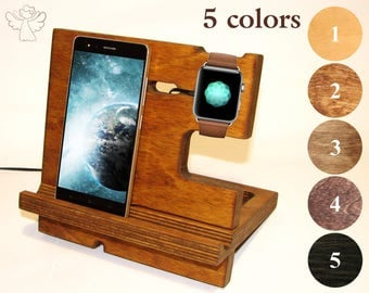 Docking station wood Apple dock station Charging station organizer iWatch stand Phone stand Desk organizer iPhone holder Apple watch dock