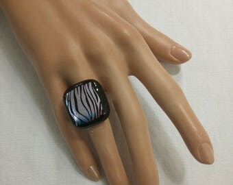 """Ring """"Zebra"""" black and Dichroic fused glass with metallic highlights, adjustable"""