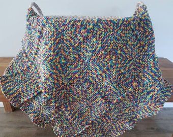 Multicoloured Crocheted Baby Blanket / Pram Blanket - yellow, blue, purple and pink / Gender Neutral Baby Blanket