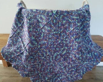 Multicolour Crocheted Baby Blanket / Pram Blanket - purple, blue, mint and grey / Gender Neutral Baby Blanket