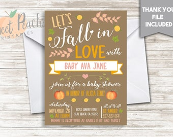 Fall Baby Shower Invite Invitation 5x7 Personalized Fall In Love Baby Sprinkle Pumpkins Banner Leaves Peaches #65.0
