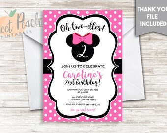 Pink Minnie Mouse 2nd Birthday Invitation, 5x7, Digital, Personalized, Girl's, Minnie Mouse, Oh Two-dles!, Party, Invite, #136.3
