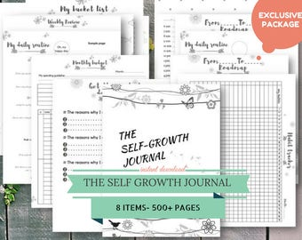 The Self Growth Journal, Daily Planner, To do List Printable, Vision Board Template, Life Organizer Notepad, Bucket List, Habit Tracker Boho
