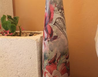 decoupage tall bottle 0031
