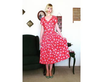 Vintage Laura Ashley Red Button Floral Dress Size 12