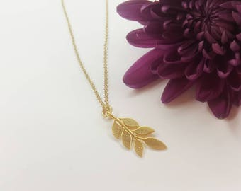 Sweet Little Branch Necklace in Gold and Silver - Leaf Necklace - Gold Leaves- Silver - Nature Jewelry - Minimalist Jewelry - Christmas Gift