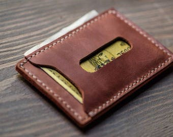 Leather Card Wallet, Small Wallet, Breast Wallet, Travel Wallet, Monogram, Personalised, Cognac & Red leather, FREE MONOGRAM