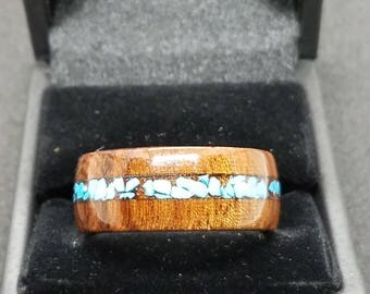 Dalmata Wood Ring with Turquoise Inlay Size 11