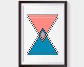 Triangle Print, Geometric, Modern Art, Geometry Wall Art, Minimalist Art Poster, Scandinavian Print, Minimalist Wall Decor, Nursery Art