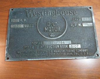 Westinghouse 300 HP DC electric motor plaque