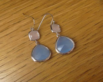 Golden Earrings: pink and Blue Crystal