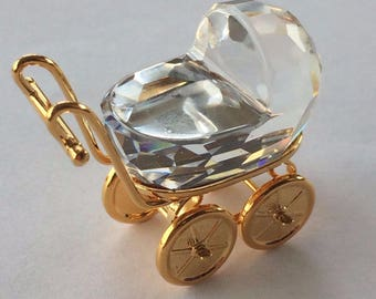 SWAROVSKI Crystal Memories Baby Pram Swarovski Baby Carriage Ornament Crystal Ornament Swarovski Memories Pram Vintage Crystal BabyCarriage