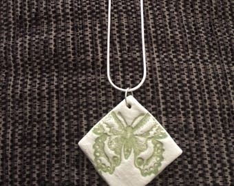 Clay butterfly necklace