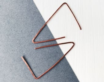 Copper earrings, triangle earrings, geometric hoops, moder jewelry, gift under 10, Valentine's Day, contemporary jewelry