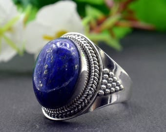 Natural Lapis Lazuli Oval Gemstone Ring 925 Sterling Silver R829