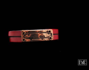 """Copper plated Fuchsia leather bracelet """"hearts"""""""