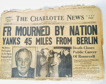 Franklin roosevelt death newspaper, original vintage newspaper, presidents death paper, 1940s newspaper, paper ephemera, office decor