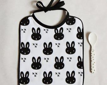 Bib tie - black and white rabbit print Jersey