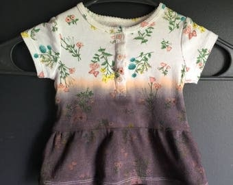 6 month short sleeve flower top, dipped died for repurposing purposes