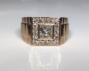 Estate 18K Rose Gold 1.87 CTW Diamond Wedding Band Rolex Pinkie Ring Size 9.5