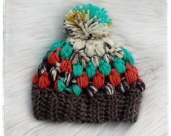 Puff Stitch Pom Hat, Crocheted Pom Hat, Crochet Puff Stitch Hat, Beanie, Hat, Crochet Beanie, Pom Hat, Puff Hat