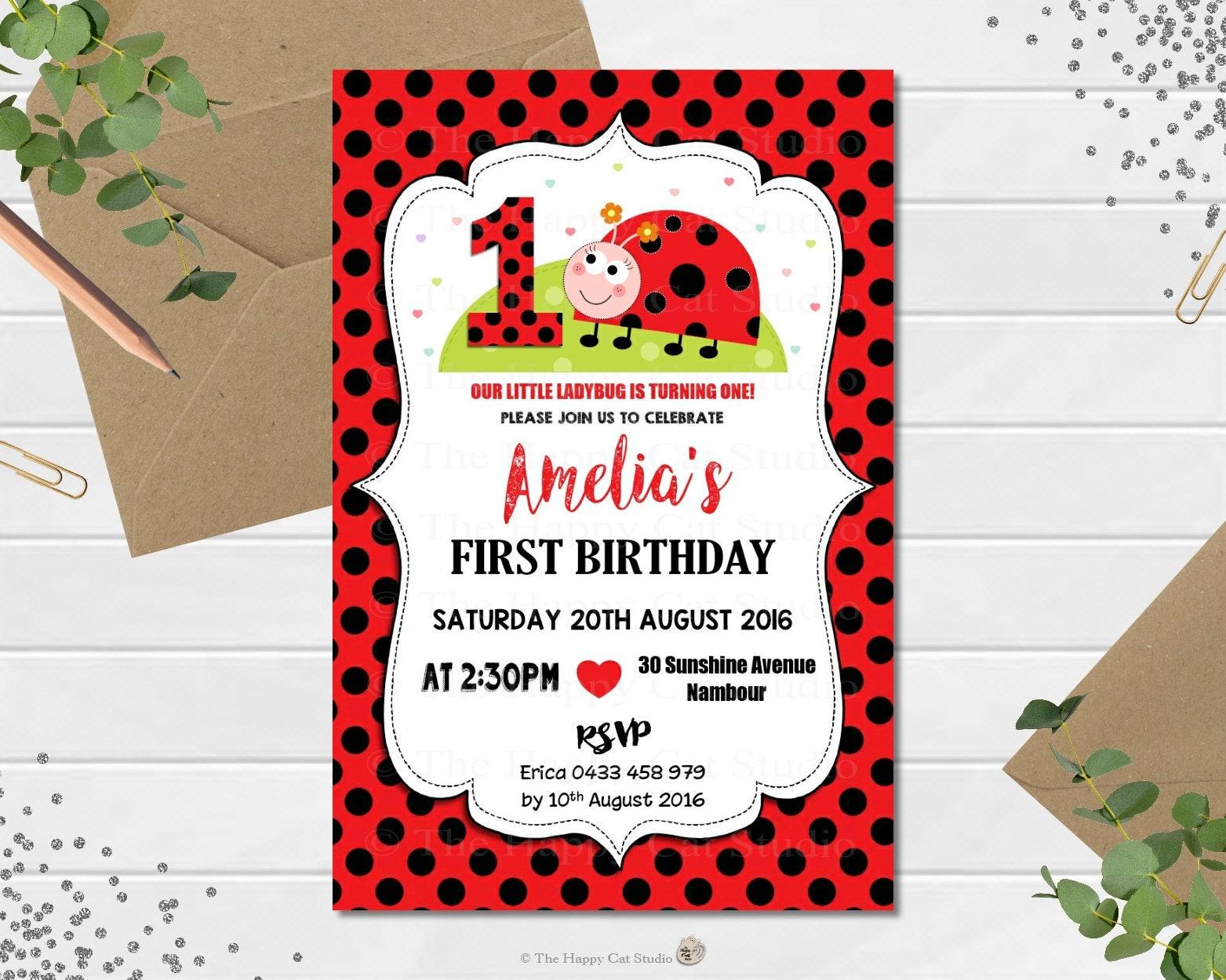 Ladybug Invitation, Lady bug, Personalized, Printable, 1st Birthday ...