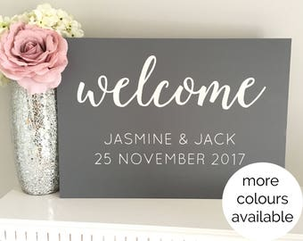 Custom Welcome Sign - wooden wedding sign - hand painted calligraphy
