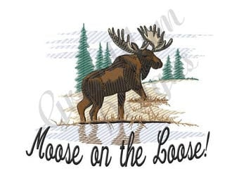 Moose On The Loose! - Machine Embroidery Design