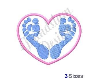 Baby Feet Heart - Machine Embroidery Design