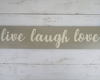 Live Laugh Love Wall Decor | Wooden Sign | Shabby Chic | Gray | Modern