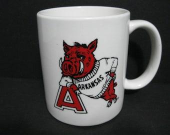"""Vintage Arkansas Razorbacks Mug, Arkansas """"Hogs"""" Mug, NCAA Sports Mug, SEC Sports Mug"""