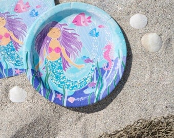 Purple and Blue Mermaid Party Large Plates/ Purple Mermaid Party Plates/ Mermaid Plates