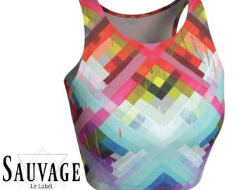 Artsy  - Athletic Crop top - Awesome for yoga class and cool enough for lollapalooza - Totally handmade in montreal • XS to XL