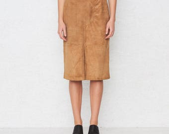 Vintage Brown Suede VALENTINO Skirt/ Size 44