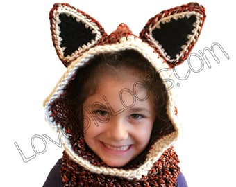 Hooded fox cowl fox hood fox hooded cowl fox hat crochet fox cowl fox scarf animal cowl crochet cowl hooded scarf animal hat fox hoodie