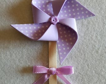 Set of 10 pinwheels placeholder in Lilac polka dot birthday communion baptism birth fommy