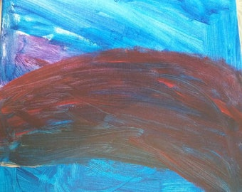 Abstract 12×12 Acrylic Painting by 8 Year Old Artist, Gracie