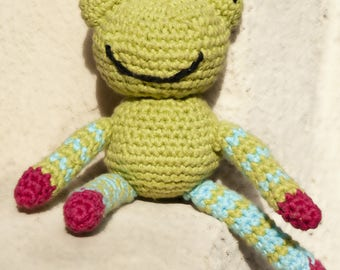 Baby blanket, in the shape of frog crochet. Hand made French craft