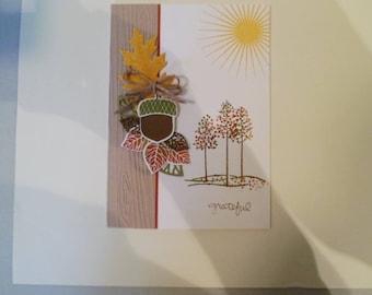 Handmade Thank you card, Grateful card, Autumn card, Fall card, Thanksgiving card, Custom Thank you card, Greeting card, Thanks