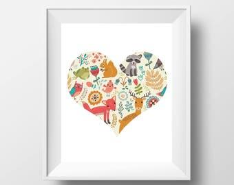Animal Nursery Art Print - 8x10'' - Children wall art, nursery quote, typography, for children, animal family -UNFRAMED