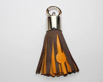 Bi-color genuine leather tassel