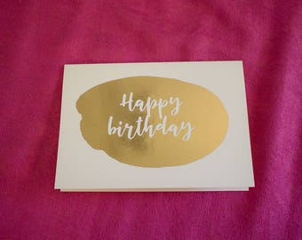 Happy birthday ink spot gold foil card