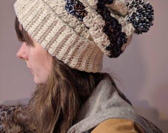 Slouchy Beige with brown/black/blue miss stripe Pom Pom Hat